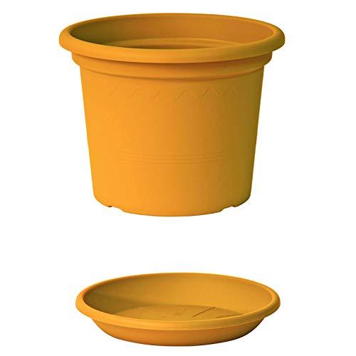 EURO3PLAST Geo Blumentopf mit Untersetzer 12 Größen und 9 Farben zur Wahl (25 cm, Mango-Gelb)