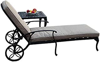 CBM Patio A Pair of 2 Kawaii Collection Cast Aluminum Powder Coated Chaise Lounge with Lite Brown Seat Cushions TD04