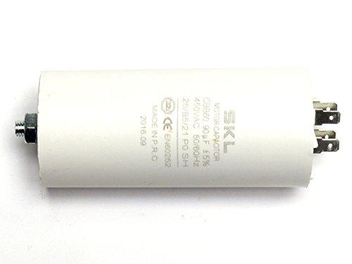 MKP - Kondensator 9uF, Motorkondensator 9,0µF 450VAC (CBB60), verwendbar als Betriebskondensator oder Anlaufkondensator (Anlasskondensator) aus selbstheilender metallisierter Polypropylenfolie im Kunststoffbecher, Anschluß über Flachsteckanschluß (Doppelanschluß FastOn250)