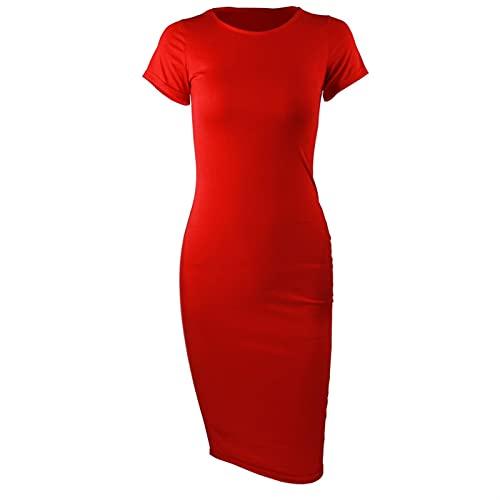 Vestido De Primavera Largo De Algodón Moda O-cuello De Manga Corta Oficina Vestido De Verano Vestido Más Tamaño Casual Lápiz Vestido De Fiesta 1033 (Color : Red, Size : XX-Large)