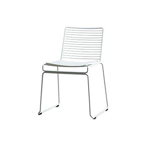 WYNZYJBD Eisenstuhl, Esszimmerstuhl Sessel Bürostuhl Balkon Outdoor Home Studio Küche Frühstück Barhocker, Schwarz/Weiß (Farbe : Weiß)
