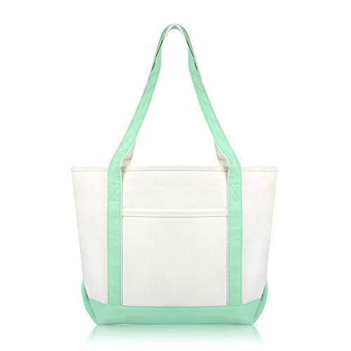 DALIX Daily Shoulder Tote Bag Premium Cotton in Mint Green