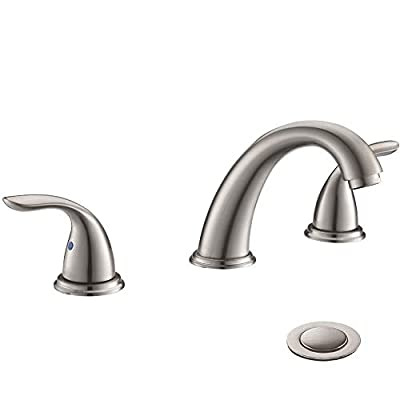 2 Handles 3 Holes Deck Mount Brushed Nickel Widespread Bathroom Faucet by Phiestina,with Stainless Steel Pop Up Drain, WF008-5-BN