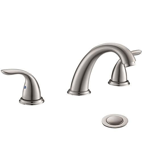 2 Handles 3 Holes Deck Mount Brushed Nickel Widespread Bathroom Faucet by Phiestina,with Stainless...