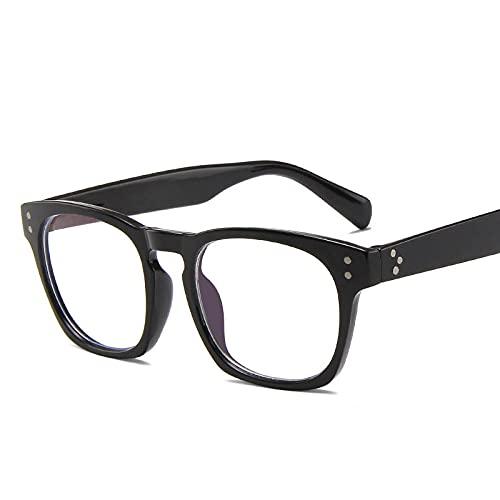 Powzz ornament Gafas de sol retro anti-azul con montura de gafas cuadradas para hombres y mujeres, Gafas de sol para estudiantes, anteojos retro-Negro