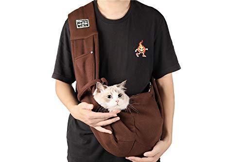 ペットお出かけ抱っこバッグ スリング 斜めショルダーカバン 10kgまでの猫、子犬、小型犬対応 飛び出し防止用ストラップ付