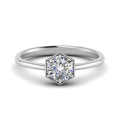 Anillo de diamante de moissanita natural de 1 quilate con forma redonda de color blanco en plata de ley 925 para compromiso, Gema, moissanita,