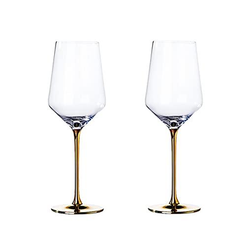 PQQ Copas de Vino Vasos de champán soplados a Mano Vaso de Licor de Whisky de Cristal Ideal para cata de vinos Aniversario de Bodas Juego de 2 (Color : Red Wine)