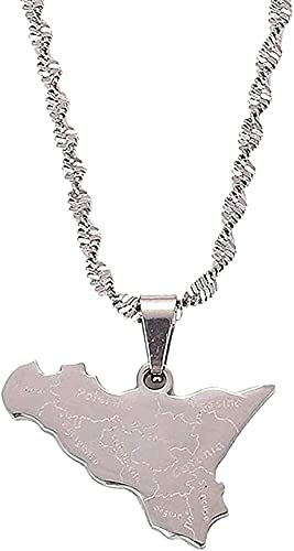 LBBYLFFF Collar de Moda Collar de Acero Inoxidable Color Plateado Mapa de Sicilia Colgantes Collar Sicilia Mapa Cadena Joyería Regalos
