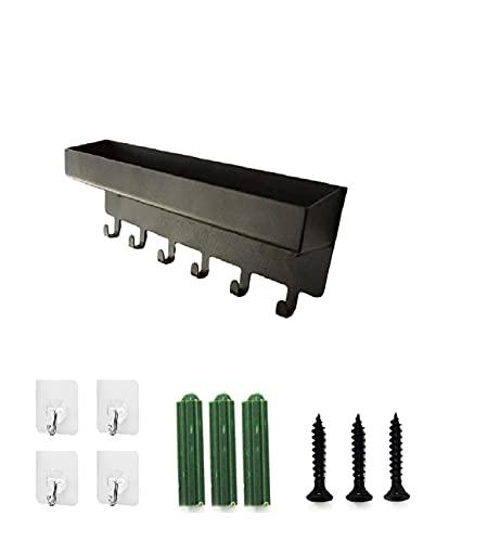 Soporte para llaves con ganchos adhesivos para llaves y organizador de correos con 6 ganchos, bandeja de metal para colgar llaves de pared con tornillos, anclajes+4 ganchos adhesivos de pared