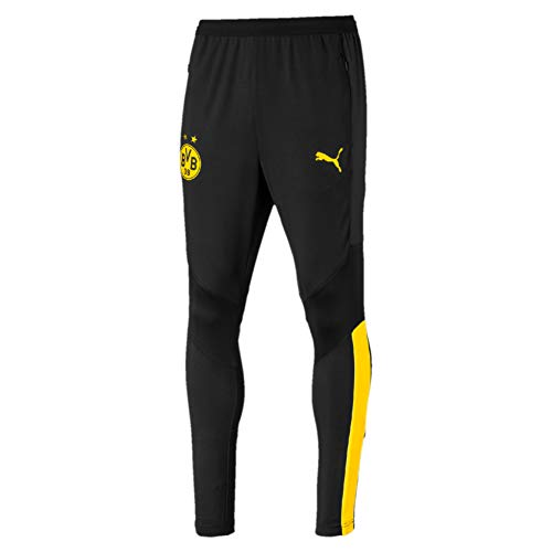 PUMA Herren BVB Training Pants Pro with Zip Pockets Trainingshose, Black/Cyber Yellow, XL
