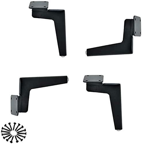 FTYYSWL Piernas de la ayuda del pie del sofá del metal, tabla del café de la pierna del 18cm de los muebles, patas pesadas del soporte de plata negra