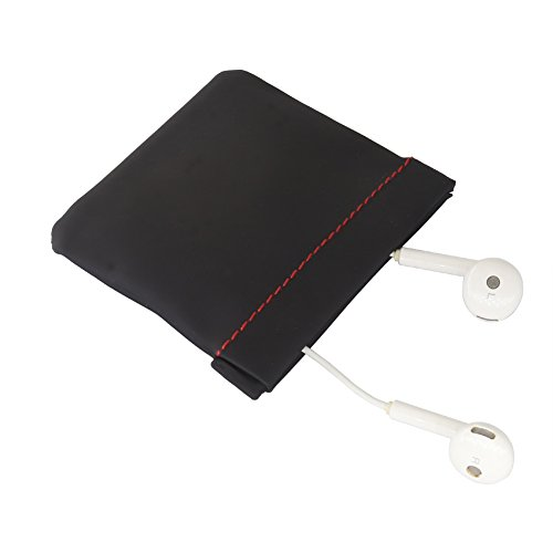 EVNSIX Earbud Case Organizer Pouch Bag Earphone Coin Purse for Women Men,Spring Frame Close,Soft PU Leather(2 Pack)