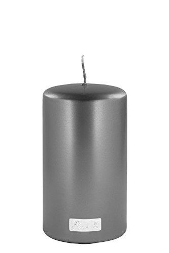 Fink - Altarkerze/Stumpenkerze - Getaucht Metallic - Grau H 15, Ø 8 cm