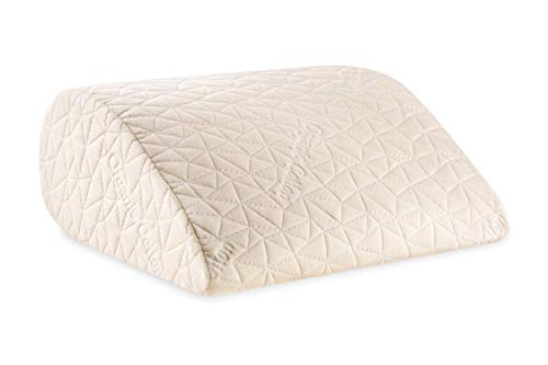 The Hue Cottage Orthopedic Medical Grade Firm Inclined Bed Wedge Leg Rest Pillow with Organic Cotton Pillow Case (White, 17' L x 14.8' W x 7' H)