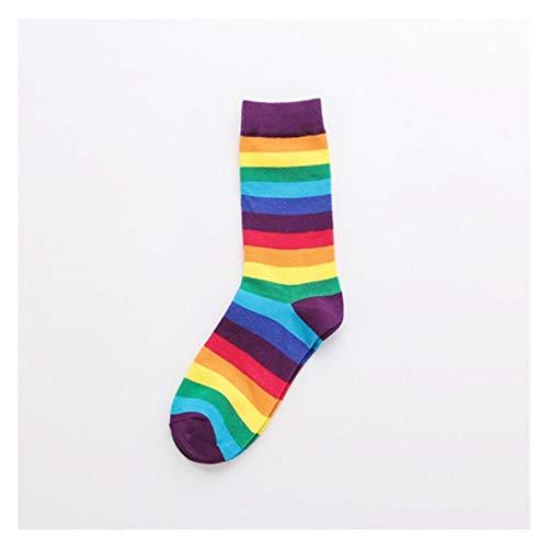 Hjdmcwd Calcetín 1 Pares Nuevas Rayas de Color Cerrar Socks Socks Algodón Mujeres Ocio Cerrar Mangas Rainbow Calcetines Cálidas Tendencias en otoño e Invierno (Farbe : Red-3)