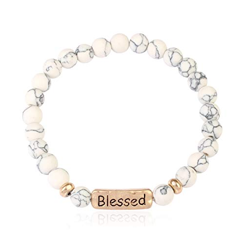 Inspirational Bar Natural Stone Stretch Prayer Bracelet - Christian Religious Message Adjustable Cuff Bangle Blessed/Faith/Love/Hope/Bible (Blessed - White Howlite)