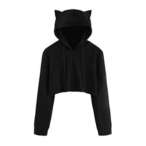 TWIFER Damen Katze Ohr Schwarz Langarm Hoodie Sweatshirt Crop Pullover Kapuzenpullover (2XL, Schwarz)