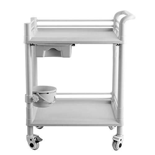 2-stufiger Rollwagen für Den Beauty-SPA-Salon Aus ABS, Fahrbare Servicewagen für Medizinische Werkzeuge mit Universalrädern, 75 × 53 × 90 cm, Grauweiß (Color : Single Drawer)