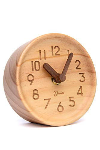 Driini Wooden Desk & Table Analog Clock Made of Genuine Pine (Light) - Battery Operated with Precise Silent Sweep Mechanism …