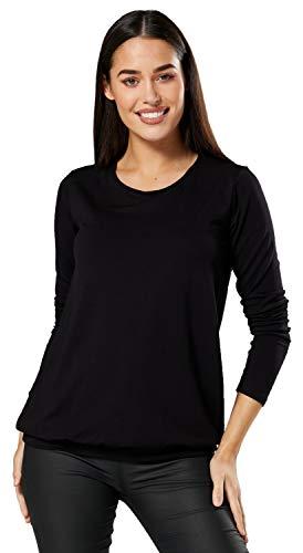 HAPPY MAMA. Donna Maglietta a Strato Top prémaman T-Shirt L'Allattamento. 005p (Nero, IT 42/44, M)