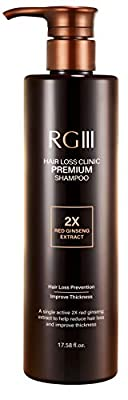 RG3 RGIII PREMIUM HAIR LOSS CLINIC SHAMPOO (ONE BOTTLE), Hair Regrowth, Clinically Tested, Natural Ingredients, Red Ginseng, Sulfate Free, All Hair Types, Men and Women