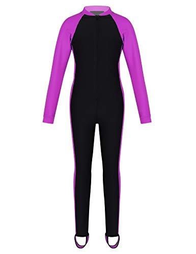 CHICTRY Unisex Mädchen Langarm Badeanzug Ganzkörper-Schwimmanzug UV-Schutz Neoprenanzug Lange Hose mit Steg Wetsuit Rose Rot 152-158/12-13Jahre