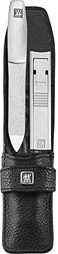 ZWILLING TWINOX Maniküre Nagel Set 2-teilig, Pediküre Pflege für Hände und Füße mit Nagelknipser aus Edelstahl, Rindleder, Schwarz
