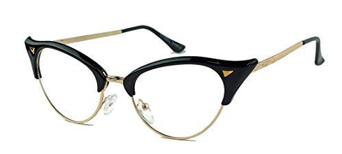 seltene 50er 60er Jahre Nerdbrille für Damen im Vintage Cateye Look Halbrahmen Klarglas TC89 (Schwarz)