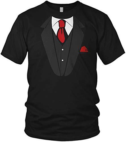 Fake Anzug Falscher Smoking mit Krawatte Aufdruck JGA - Herren T-Shirt und Männer Tshirt, Größe:4XL, Farbe:Schwarz/Rot