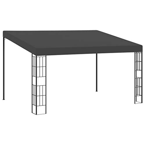 vidaXL Wall-mounted Gazebo Outdoor Garden Backyard Canopy Sunshade Shelter Patio Pavilion Awning Marquee Party Tent 3x4m Anthracite Fabric