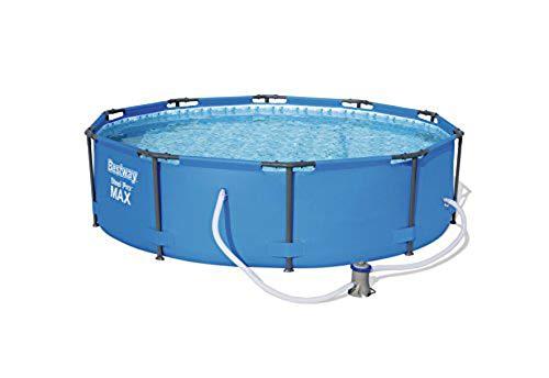 WSJYP Piscina Inflable Piscina de Acero con Bomba, Azul, Piscina de Marco Redondo de 10 Pies X 30 Pulgadas con Bomba de Filtro, 4678 litros, Acero Pro MAX,Blue