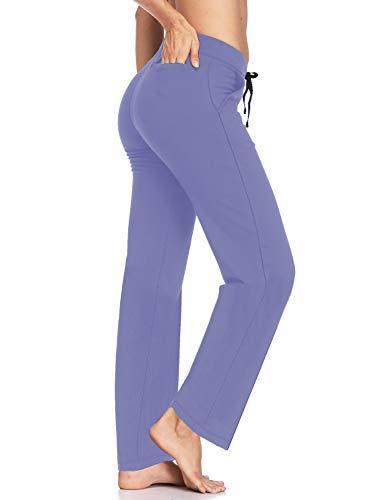 HISKYWIN - Pantalones de entrepierna, 73,7 cm, 33,8 cm, 35 pulgadas, con bolsillos, elásticos, para correr - Morado - X-Large
