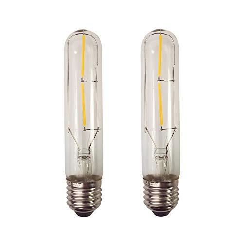 2W T10 E27 Tornillo de Base Bombilla de Luz Incandescente Jaula de Repuesto Vintage Light Retro Edison Style Led Cob Lamp Bulbs, Blanco Cálido 2300K, 2 Pack