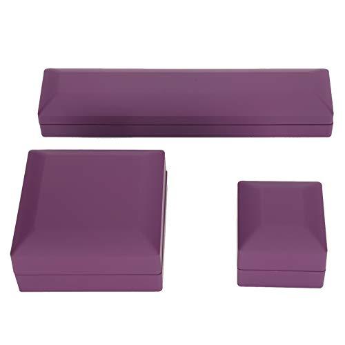 YUYTE Cajas de joyería LED de 3 Piezas, Caja de joyería de Collar de Pulsera de Anillo, Caja de Almacenamiento de Vitrina de joyería para Regalo de San Valentín