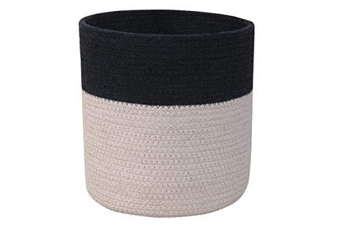 Lorena Canals - Cesta Dual Black -Pearl Grey - Negro, Gris Perla - 80% algodón 20% Otras Fibras - Ø21x22 cm