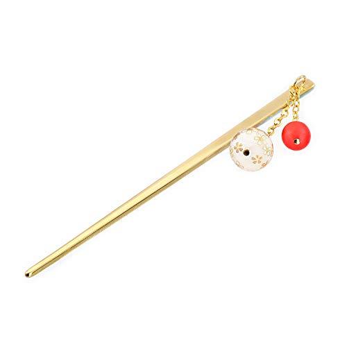『[Barzaz(バルザス)] かんざし 一本 桜柄 ボール さくら 簪 ゴールド レッド 揺れる ヘアアクセサリー』の1枚目の画像
