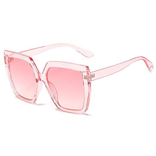 Gafas De Sol Hombre Mujeres Ciclismo Gafas De Sol Cuadradas De Moda para Mujer, Gafas De Sol Vintage para Mujer, Gafas Retro Grandes con Gradiente para Hombre-Pink_Pink_Gradient