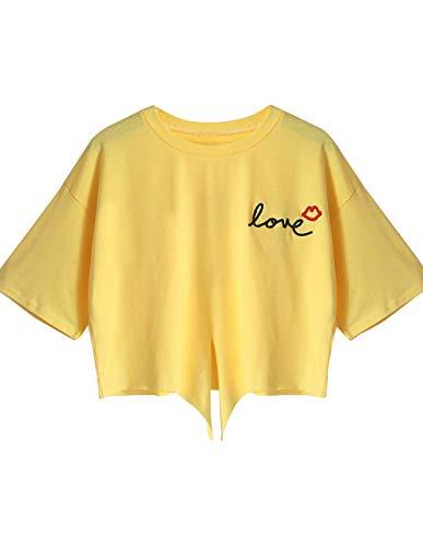 Crop Tops Damen Sommer, Teenager Mädchen Mode Lippen Love Stickerei Bauchfrei Oberteile Tie Up Lip Druck Party Sport Blusen Shirt Hemd Kurzes Tank Top Frauen Bandage Kurzarm T-Shirt (Gelb, L)