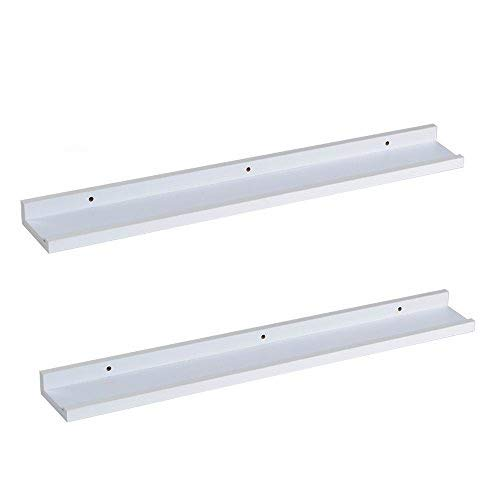 O&K Furniture Picture Ledge Wall Shelf Display Floating Shelves (White,31.5' Length, Set of 2)