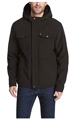 Levi's Men's Soft Shell Two Pocket Sherpa Lined Hooded Trucker Jacket, New Black, Large