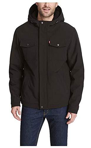 Levi's Men's Soft Shell Two Pocket Sherpa Lined Hooded Trucker Jacket, New Black, Medium