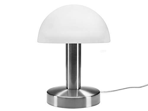 meineWunschleuchte Tischleuchte mit Opal weißem Glasschirm & Fuß in Nickel matt – 3 stufig dimmbar über Berührung – Neue Touch Generation geeignet für LED