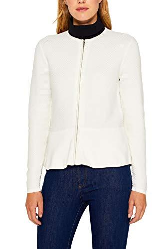 ESPRIT Collection Damen 999Eo1I802 Strickjacke, Weiß (Off White 110), Small (Herstellergröße: S)