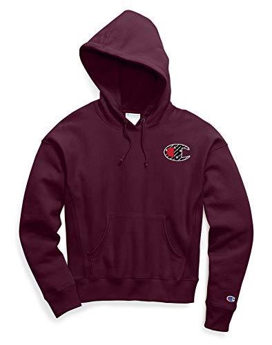CHAMPION Women's Reverse Weave Sublimated Big C Script Pullover Hoodie Sweatshirt-DARK BERRY PURPLE_XS