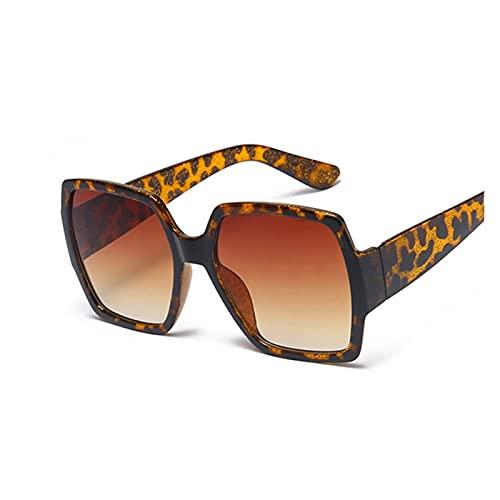 ZZDH Gafas de Sol Gafas de Sol cuadradas Mujeres Espejo Gafas de Sol Tonos Vintage Femenino Regalo para Madres (Lenses Color : Leopard)
