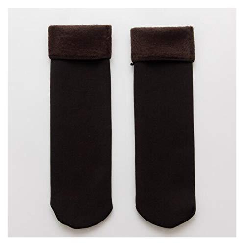 Clhbaih Flauschige Socken Halten Sie warme Winterfrauen verdicken Wärmewolle Kaschmir Schnee-Wamer-Socken Nahtlose Samtstiefel Fußboden schlafende Socken für Damen (Color : Brown)