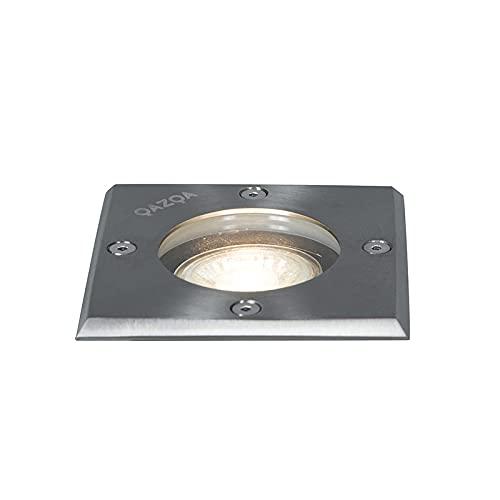 Qazqa Spot extérieur   Spot de Jardin Moderne - Basic Square Lampe Acier - GU10 - Convient pour LED - 1 x 50 Watt