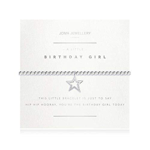 Joma Jewellery A Little Birthday Girl Silver Bracelet (Faceted) | 17.5cm Stretch