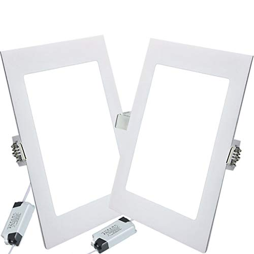 2PACK LED Deckenleuchte LED Panellampe Einbaustrahler Einbauleuchten Square 9W 4000K Neutral White LED Downlight Ultra schlanke Lampe Scheinwerfer für Küche Bad Gang Lochgröße 12.5CM